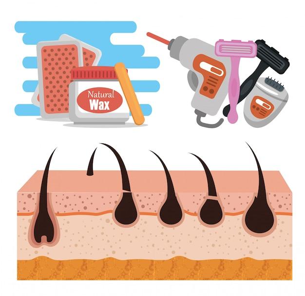 Pele com ferramentas para depilação Vetor grátis
