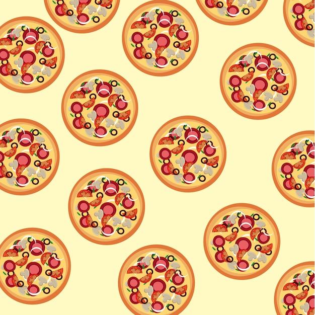 Pele de pizza sobre ilustração vetorial de fundo creme Vetor Premium