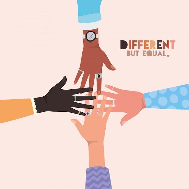 Peles diferentes, mas iguais e de diversidade, mãos se tocando design, pessoas, raça multiétnica e tema comunitário Vetor Premium
