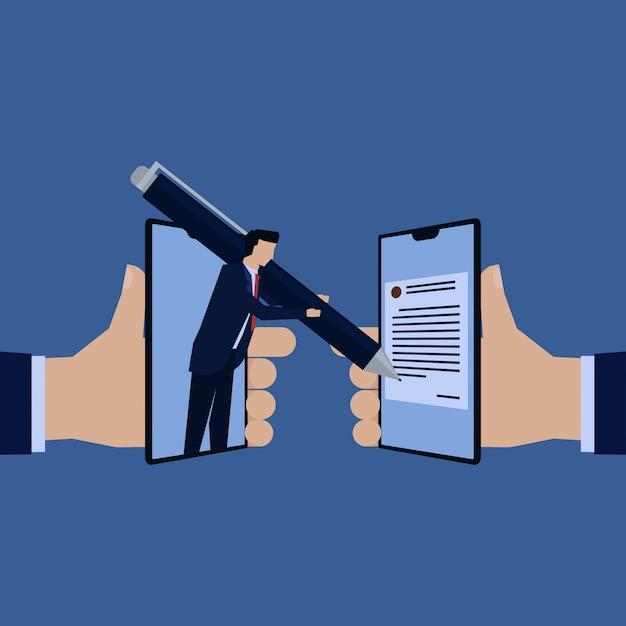 Pena da preensão da equipe do homem de negócios corrida ao contrato. Vetor Premium