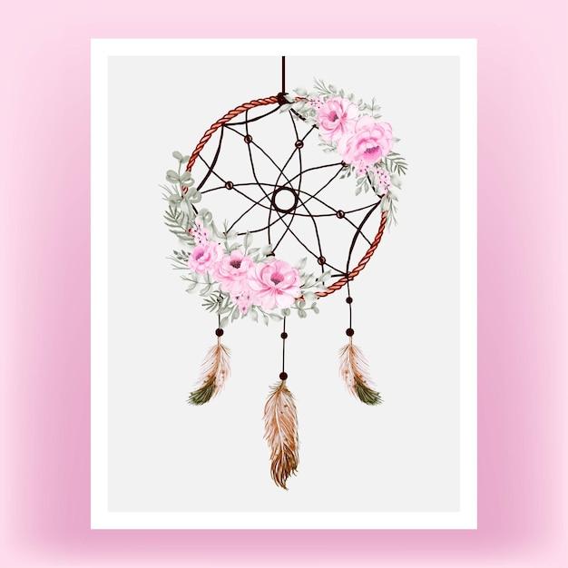 Pena de flor rosa rosa apanhador de sonhos em aquarela Vetor Premium