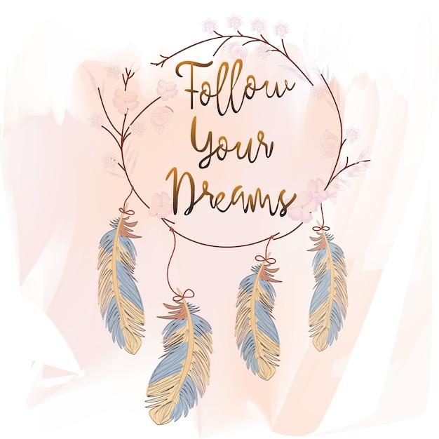 Penas e apanhador de sonhos em fundo rosa Vetor Premium