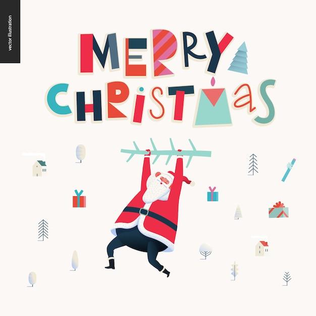Pendurado papai noel - feliz natal e feliz ano novo cartão Vetor Premium