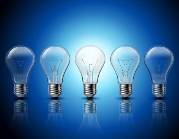 Pensamento bem sucedido e recebendo idéias brilhantes metafórico gradualmente queima de fileiras de lâmpadas Vetor grátis