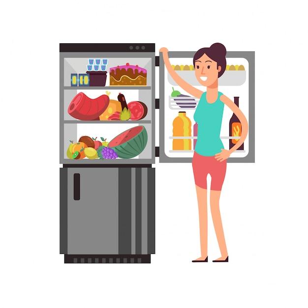 Pensamento da mulher que snacking no refrigerador com alimento insalubre. pessoas comendo no conceito de vetor de dieta de noite Vetor Premium