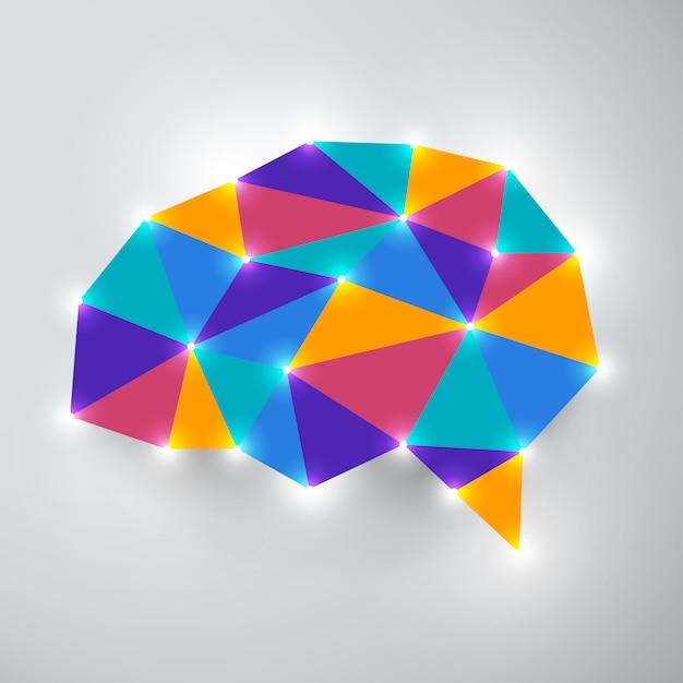 Pensamento de análise de conceito de cérebro. ilustrações. Vetor Premium