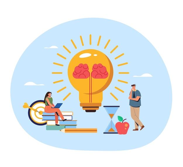 Pensamento do caráter dos trabalhadores de escritório de pessoas. conceito de ideia do cérebro. Vetor Premium