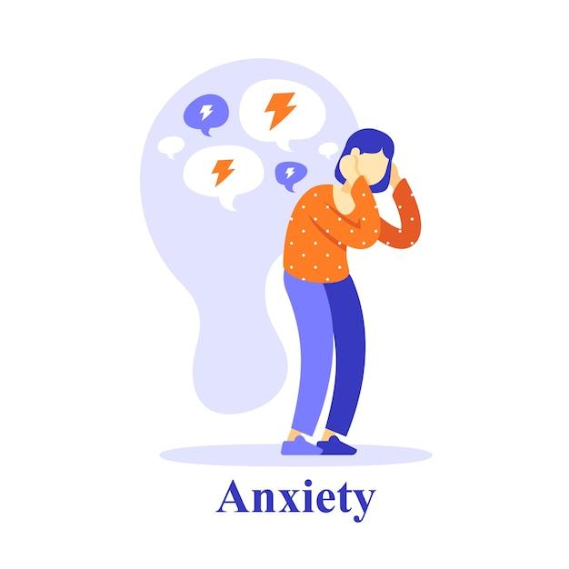 Pensamento negativo da personagem feminina, auto-estima ou dúvida, problema de saúde mental, ajuda psicológica Vetor Premium