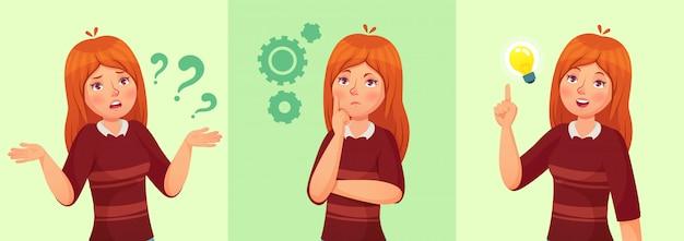 Pensar menina adolescente, confuso jovem adolescente feminino, aluna pensativa e pergunta dos desenhos animados Vetor Premium