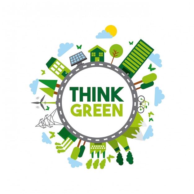 Pense design verde Vetor Premium