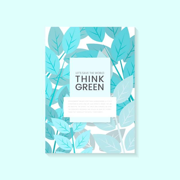 Pense vetor de cartaz de conservação ambiental verde Vetor grátis