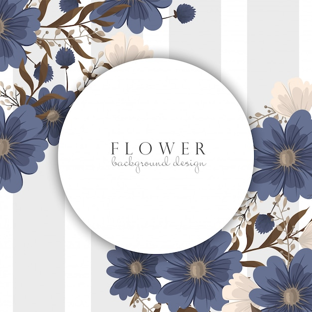 Pensionista de flor de primavera - flor azul Vetor Premium