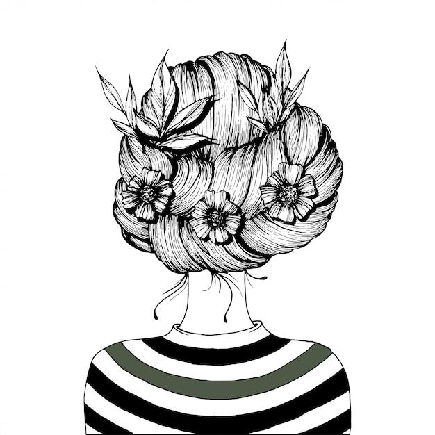 Penteado com flores. Vetor Premium
