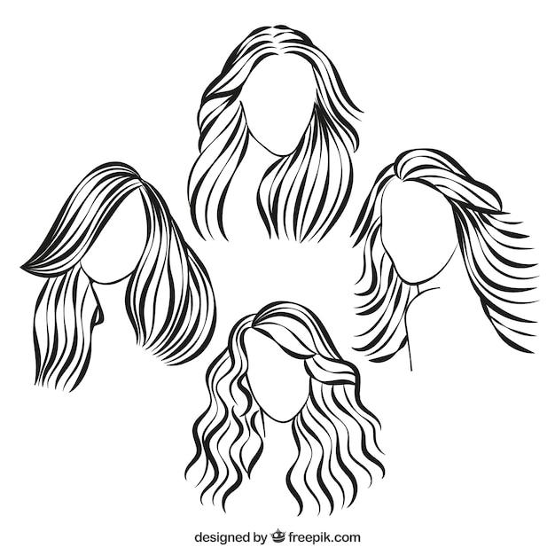 Penteados esboçado Vetor grátis