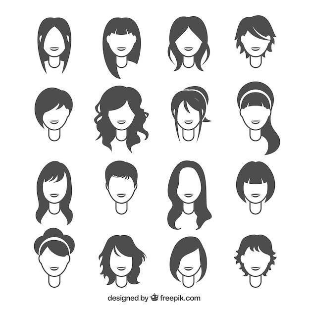 Penteados mulher Vetor Premium