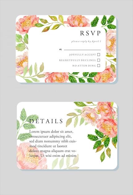 Peônia floral do rosa do ouro do rosa da aguarela cartão comemorativo Vetor Premium
