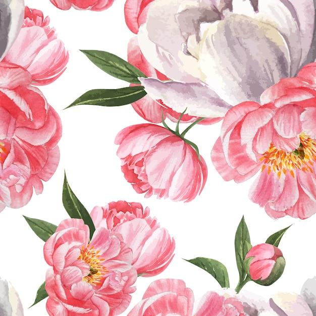 Peônia flores aquarela padrão sem costura floral botânica aquarela estilo vintage têxtil Vetor grátis