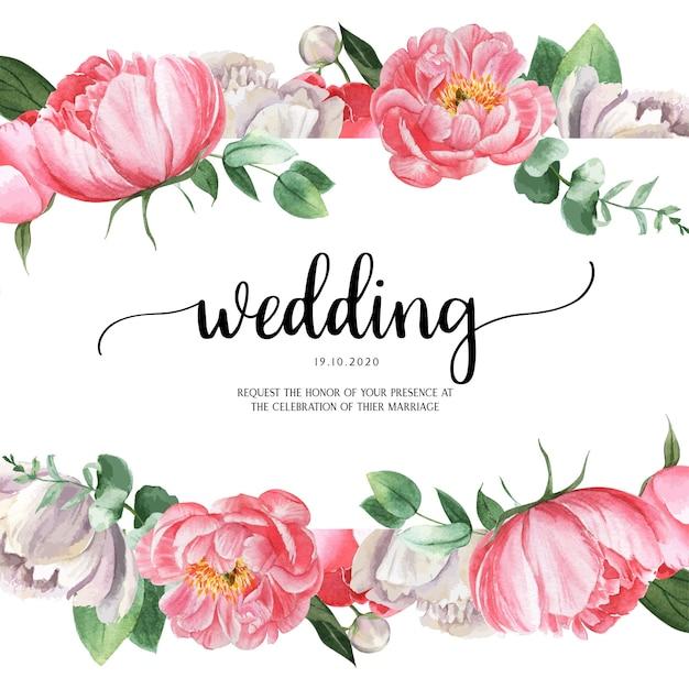 Peônia rosa florescendo flor botânica aquarela cartões de casamento convite floral aquarelle Vetor grátis