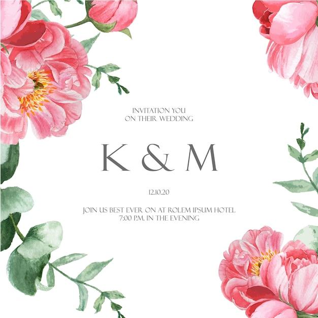 Peônia rosa florescer flor botânica aquarela cartões de casamento aquarelle floral Vetor grátis
