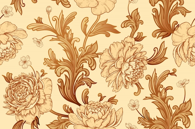 Peônias de flores no jardim e elementos de decoração barroca. padrão sem emenda. Vetor Premium