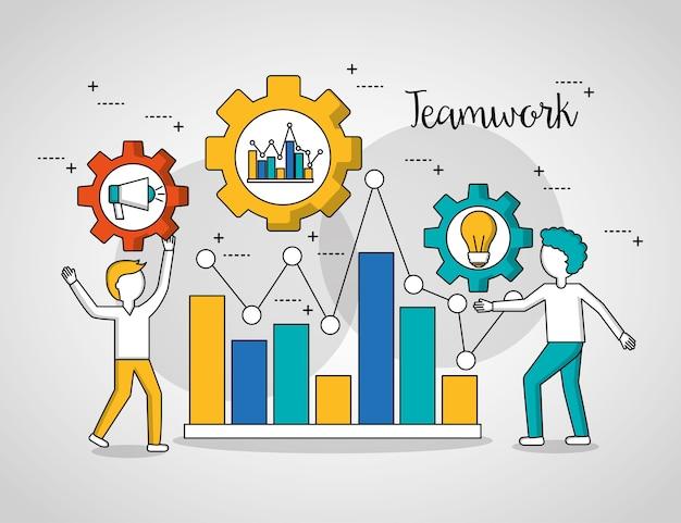 People teamwork graph statistics meninos mostrando o progresso Vetor Premium