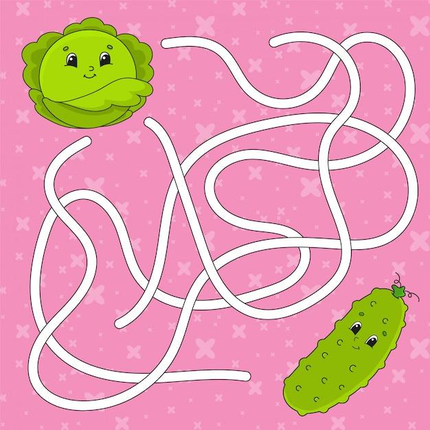 Pepino de legumes, repolho. labirinto. jogo para crianças. Vetor Premium