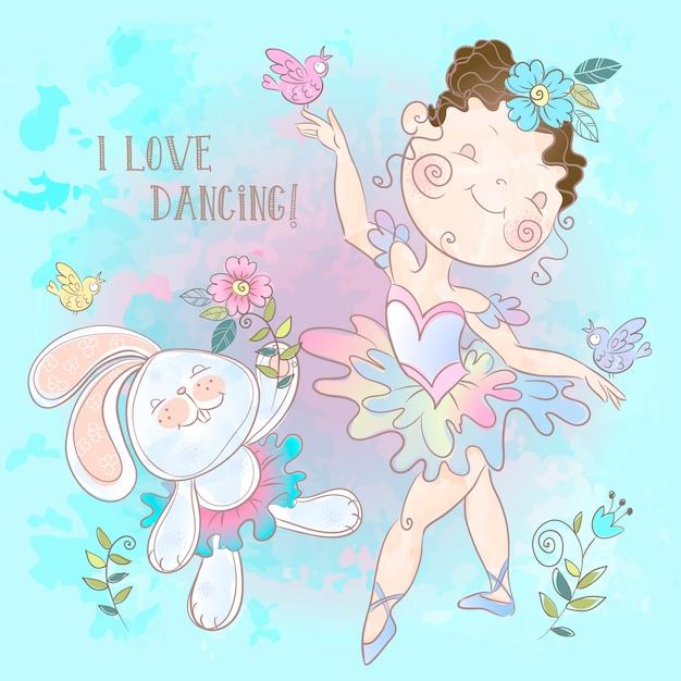 Pequena bailarina dançando com um coelho. Vetor Premium