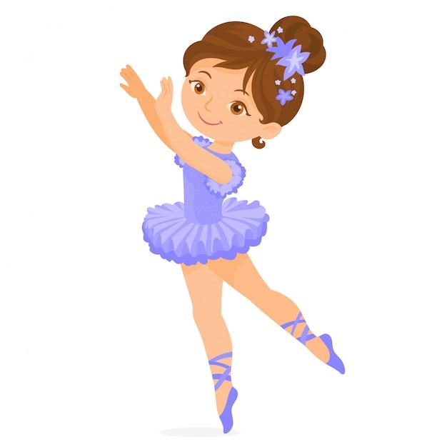 Pequena bailarina em pose Vetor Premium
