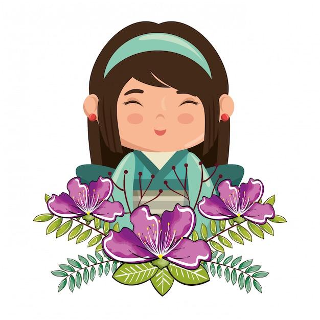 Pequena garota japonesa kawaii com caráter de flores Vetor grátis