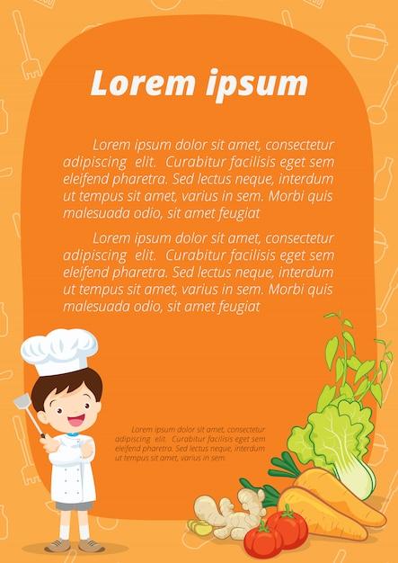 Pequena ilustração dos desenhos animados de chef Vetor Premium