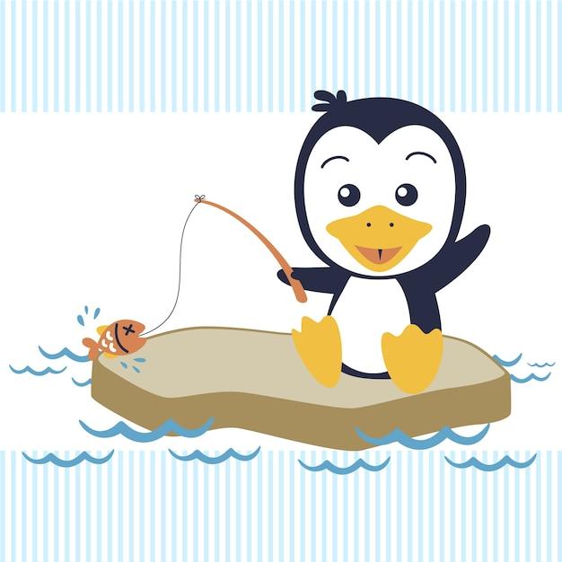 Pequena pesca com desenhos animados de pinguins Vetor Premium