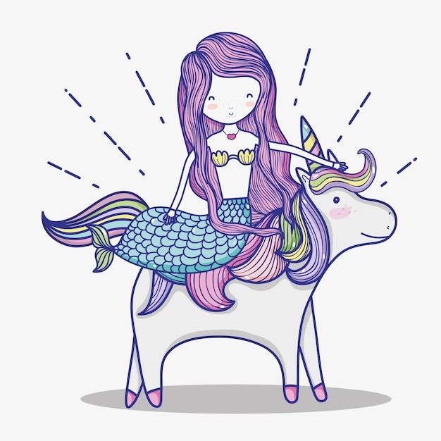 Pequena sereia com desenhos animados de arte de unicórnio Vetor Premium