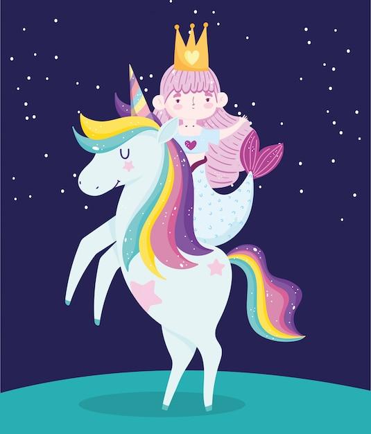 Pequena sereia fofa em unicórnio cabelo arco-íris desenho fundo escuro Vetor Premium