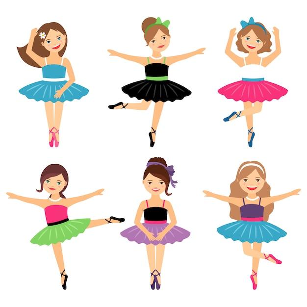Pequenas bailarinas em branco Vetor Premium