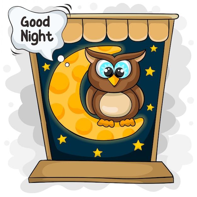 Pequenas corujas dizem boa noite Vetor Premium