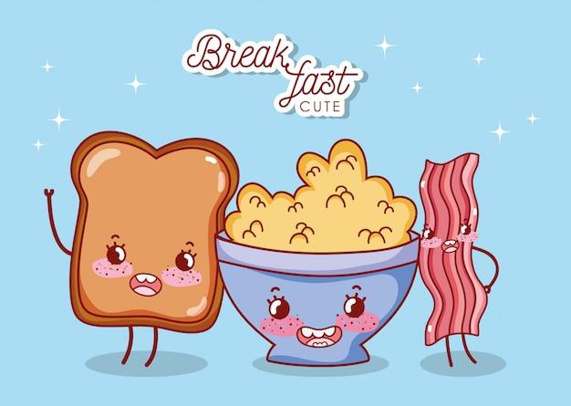 Pequeno-almoço bonito cereal pão e bacon cartoon ilustração Vetor Premium