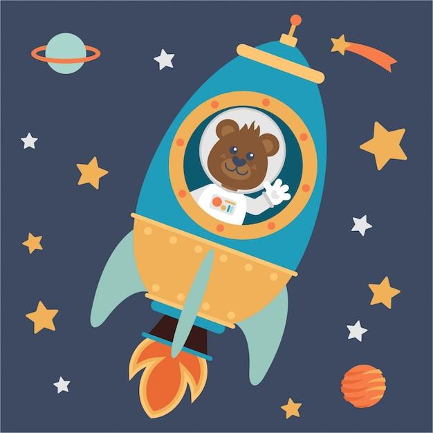 Pequeno astronauta urso em um foguete espacial Vetor Premium