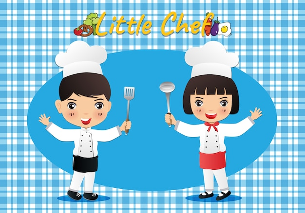 Pequeno chef bonito dos desenhos animados ilustração Vetor Premium