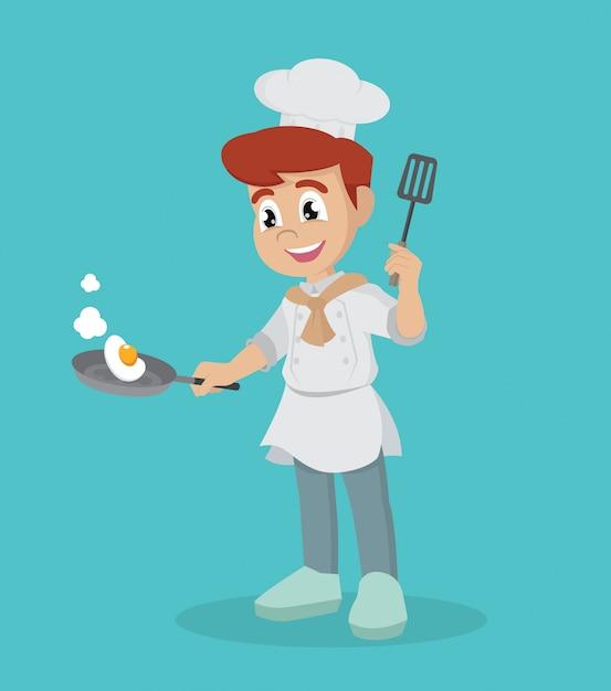 Pequeno chef com frigideira. Vetor Premium