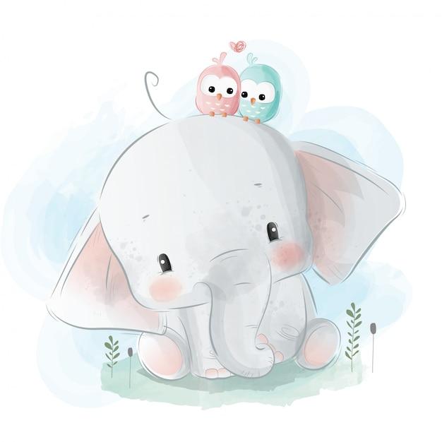 Pequeno elefante com passarinhos no seu ouvido Vetor Premium