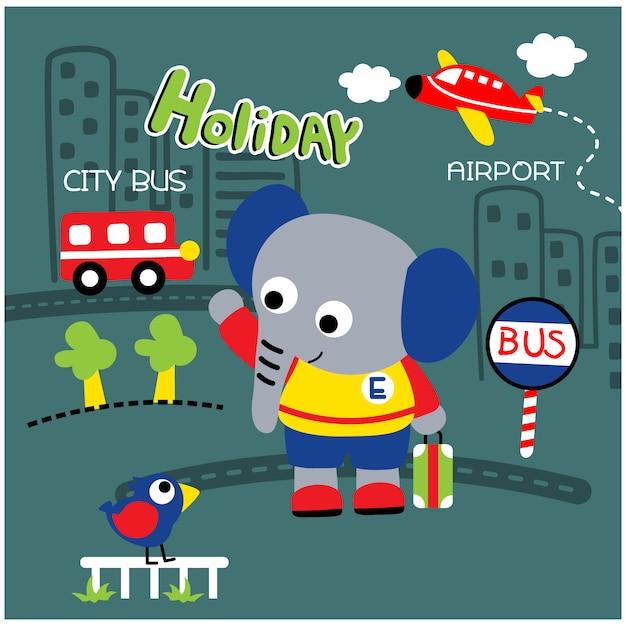 Pequeno elefante na cidade engraçada dos desenhos animados de animais, ilustração vetorial Vetor Premium