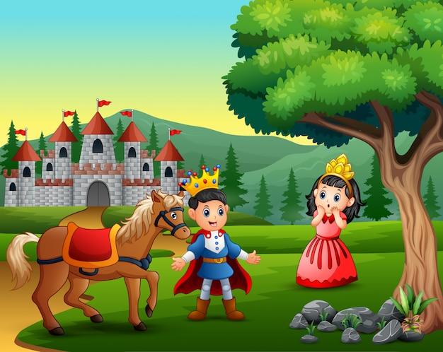 Pequeno príncipe e princesa na estrada para o castelo Vetor Premium