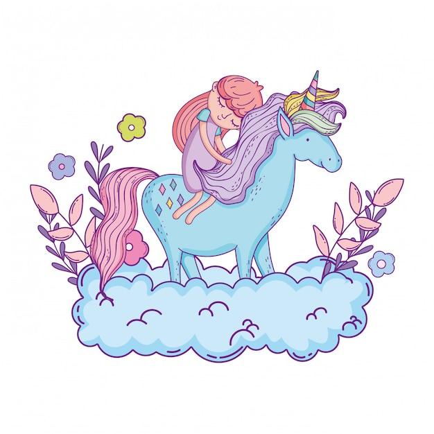 Pequeno unicórnio e princesa nas nuvens Vetor Premium