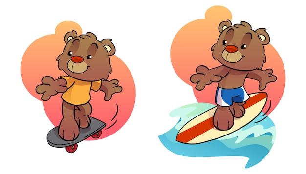 Pequeno urso cartoon personagem palying skate e prancha de surf Vetor Premium