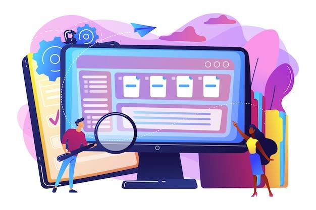 Pequenos empresários com lupa trabalham com gerenciamento de documentos no computador. software de gerenciamento de documentos, aplicativo de fluxo de documentos, conceito de documentos compostos. Vetor grátis