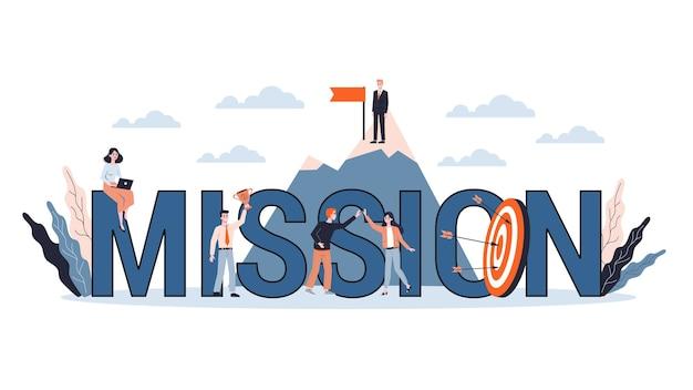 Pequenos empresários em torno de um grande alvo. idéia de meta de negócios e flecha como metáfora de conquista e sucesso. ilustração Vetor Premium