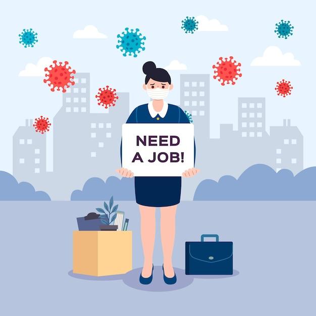 Perda de emprego devido a crise de coronavírus Vetor grátis