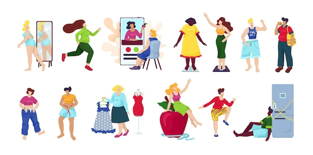 Perda de peso, conjunto de dieta de isolado. mulher com sobrepeso torna-se processo magro. ideia de fitness e dieta saudável. processo de perda de peso. mulher com barriga grande, pessoa sofre de obesidade. Vetor Premium