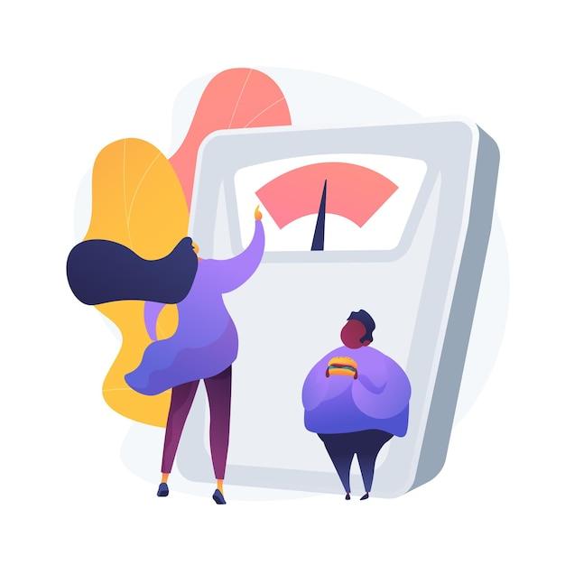 Perdendo peso. personagem de desenho animado da nutricionista feminina. emagrecimento, perda de peso, dieta. contando calorias. homem com excesso de peso com hambúrguer. Vetor grátis