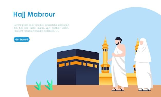 Peregrinação do hajj e umrah orando perto do modelo kaaba Vetor Premium